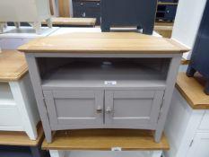 Grey painted oak top corner Tv audio cabinet with shelf and 2 door cupboard (39)