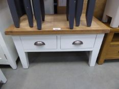 White painted oak top coffee table with 4 drawers under (26)