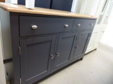 Large blue painted oak top sideboard with 2 drawers and 3 cupboards (42)