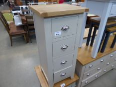 Grey painted oak top narrow chest of 4 drawers (12)
