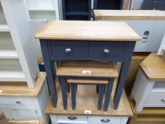 Blue painted oak top hall table with 2 drawers (7)