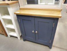 Small blue painted oak top 2 door cupboard (29)