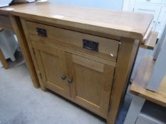 Oak sideboard with drawer and 2 cupboards (27) Height: 80cm x Width: 85cm x Depth: 35cm