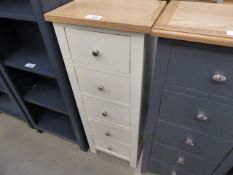 Grey painted narrow chest of 5 drawers (18)