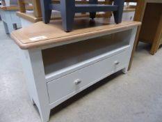 Cream painted oak top corner TV audio unit with shelf and single drawer (9)