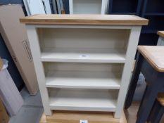 Cream painted oak top low 3 shelf bookcase (21)