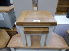 Cream painted oak top nest of 2 tables (27)