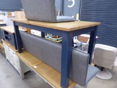 Large extending dining table painted in blue with oak top (3)