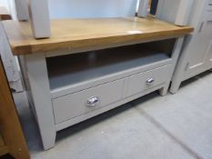Grey painted oak top TV audio unit with shelf and large drawer (37)
