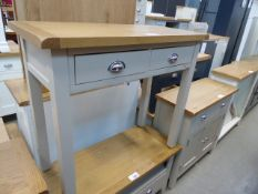 Grey painted oak top side table with 2 drawers under (22)