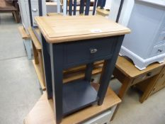 Blue painted oak top lamp table with single drawer and shelf