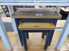 Nest of 2 blue painted oak top tables (9)