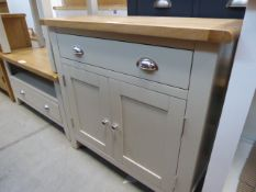Grey painted oak top sideboard with drawer and 2 cupboards (17) Height: 80cm x Width: 85cm x