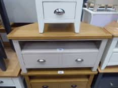 Large grey painted oak top TV audio unit with shelf and drawer