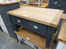 Blue painted oak top 4 drawer coffee table