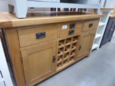 Large oak sideboard with 3 drawers, 2 cupboards and wine rack (1)