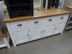 Large white painted sideboard with oak top, 3 drawers and 4 cupboards (40)
