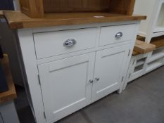 White painted oak top sideboard with 2 drawers and 2 cupboards (5) Height: 86cm x Width: 100cm x