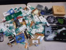 Bag containing quantity of smoking accessories; trays, box, herb grinders, papers, filters etc