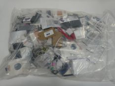 Bag containing quantity of various mobile phone accessories; cables, leads, adapters, screens,