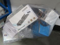 Bag containing various electrical items and sundries to include CCTV equipment, HDMI splitters, etc
