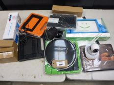 Bag containing tablet cases, wireless camera, wireless speaker, toner cartridge