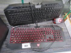 2 Acer Predator backlit keyboards with a single mouse