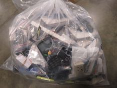 Bag containing quantity of electrical devices/accessories; mice, routers, adapters, boards, chips