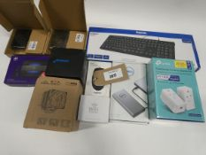 Bag containing Raspberry Pi kits, Hama keyboard, TP-Link wireless extender, BT 4G Assure dongle,
