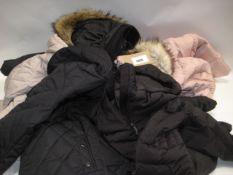 Five various quilted Parker style coats by Weatherproof, 42 Degree Heat, and Andrew Mark in