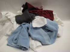 Bag containing various towels, bath and hand towels, tea towels etc, mainly in white
