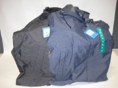 Box containing 20 Columbia light weight hooded rain jackets in grey and blue