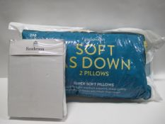 Pack of Sanderson SuperKing size sheets and bag containing 2 Snuggledown soft and down pillows