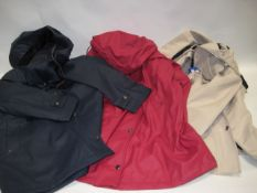 Three light weight ladies coats with hoods, 2 by Weatherproof and by DKNY sizes range from M-L