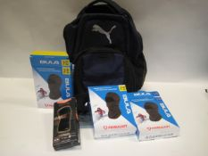Bag containing Puma rucksack, balaclavas, gloves and Elite knee support