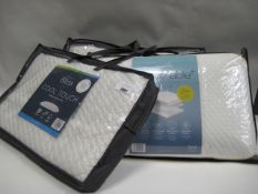 Three memory foam bagged pillows, 2 Snuggle Down Bliss Cool Touches and a Snuggle Down breathable