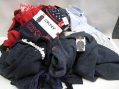Large bag of ladies and gents clothing ranging from shirts, lounge wear, ladies lounge wear, gents