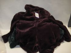Bag containing five faux fur ladies jackets by DKNY in maroon, green and black, various sizes