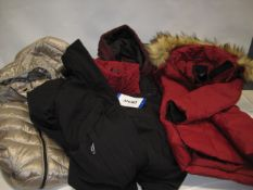 Five various ladies coast with hoods by Andrew Mark, DKNY, and Heritage 63 in various sizes,