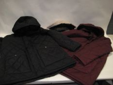 Box containing 16 ladies weatherproof and hooded jackets in black, beige and maroon, various sizes
