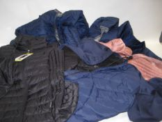 Three quilted coats by Columbia and 32 Degree heat together with 2 quilted gilets by 32 Degree Heat,