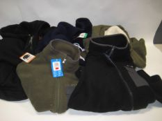Bag containing five various fleeces, some with hoods by Columbia, Buffalo, Fila etc in various