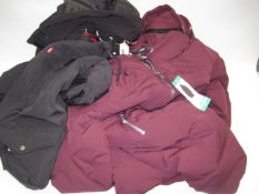 Four various coats, 3 by DKNY and 1 by Levi, 2 in black and 2 in maroon, sizes range from S-XL