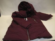 Box containing 10 ladies DKNY hooded jackets in maroon sizes S to L