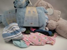 Two bags containing children's clothing together with children's 2 piece Snuggle Me 2 comfort