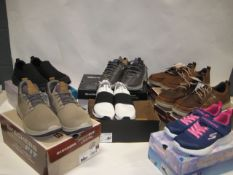 Seven boxed pairs of ladies and gents shoes and trainers by Sketchers, DKNY sizes ranging from