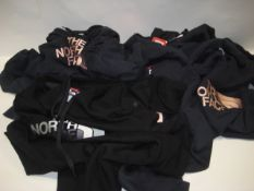 Six Northface hoodies, 5 in blue, 1 in black sizes range from XL down to L