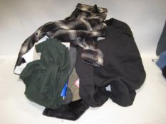 Bag of ladies and gents clothing to incl. padded shirt by Orvis, gents loungewear, shorts, Adidas