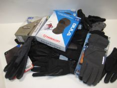 Bag containing boxed balaclava's, gloves, leather belt by Kirkland fitting thighs 36