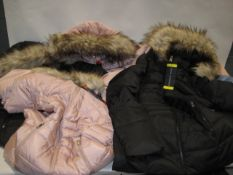 Six ladies coats by Andrew Mark with faux fur trim to the hood in black, light blue and pink,